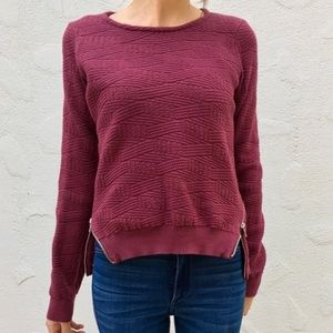 Anthropologie Moth Merle Textured Side Zip Sweater